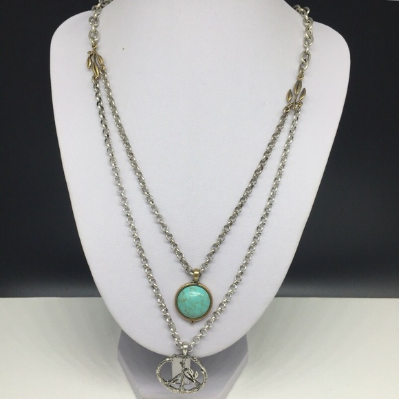 Lucky Brand Jewelry Turquoise Peace Sign Symbol Necklace